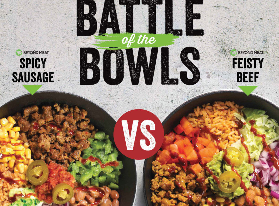 Beyond meat battle of the bowls, spicy sausage vs feisty beef