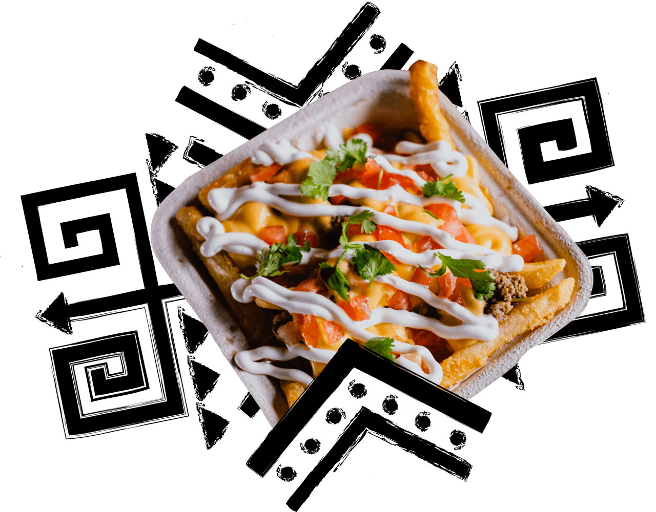 container with fries covered in toppings