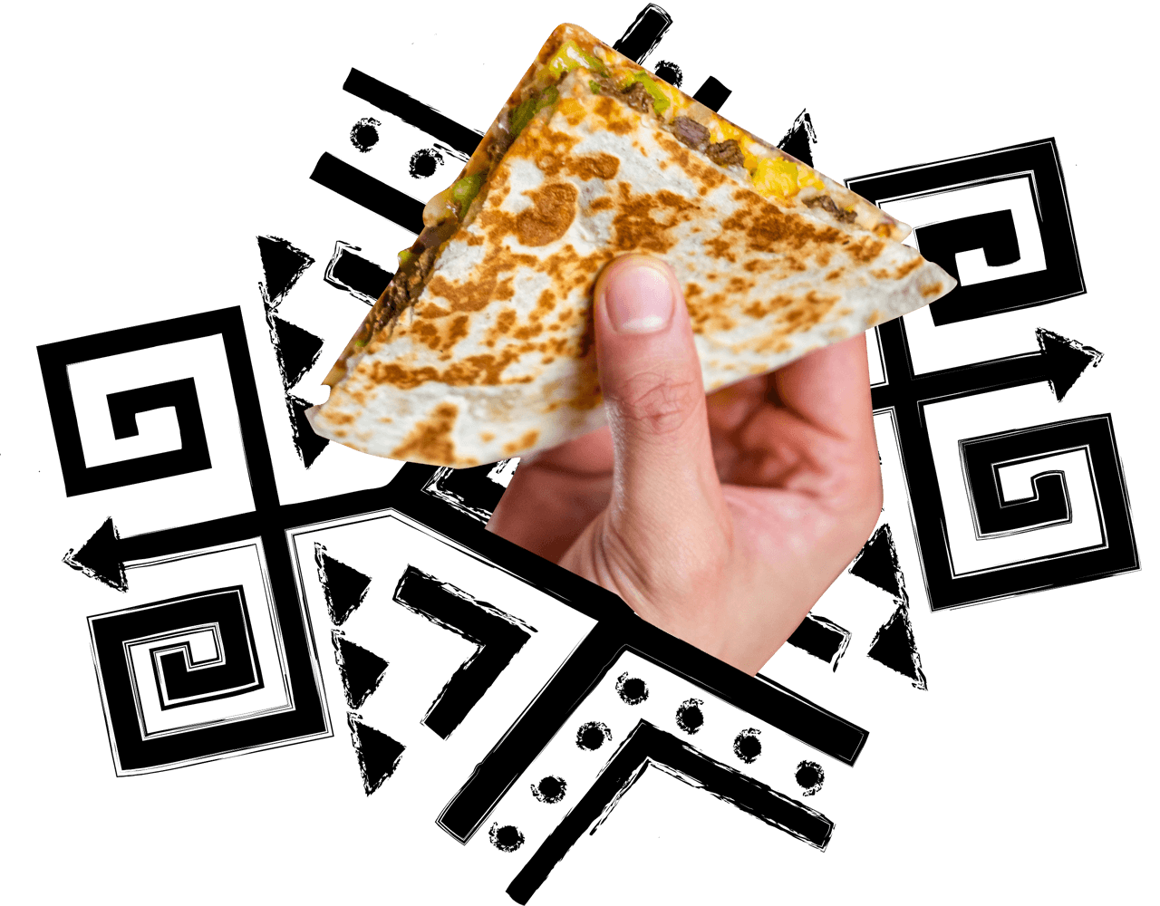 person holding piece of quesadilla
