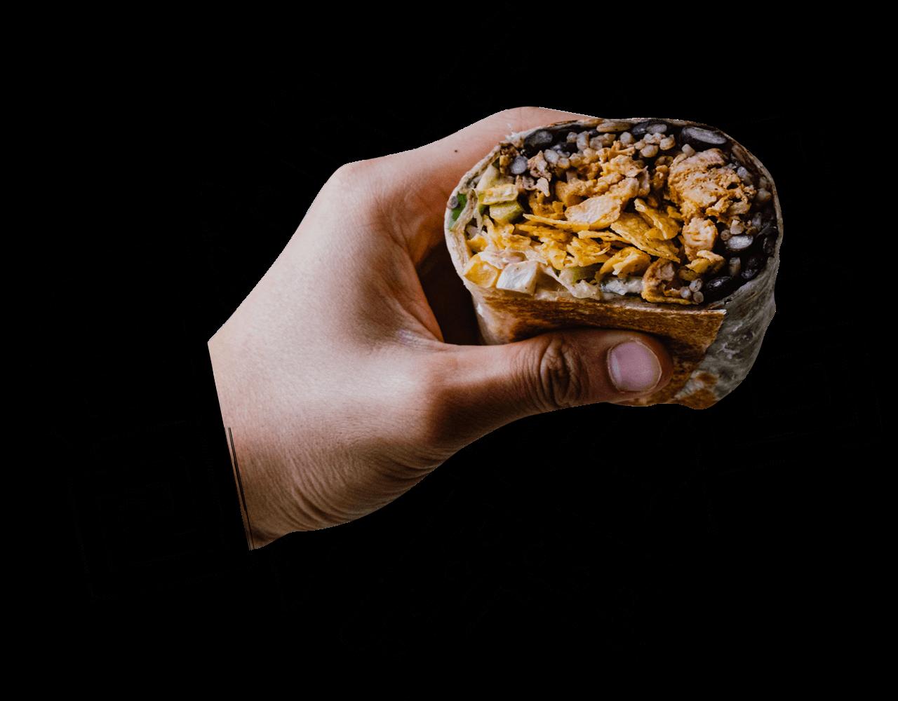 person holding a burrito